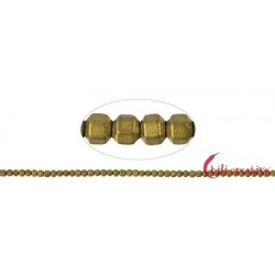 Strang Hexagon Hämatin gold (gefärbt) matt 2 mm