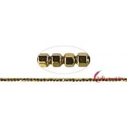 Strang Hexagon Hämatin gold (gefärbt) 2 mm