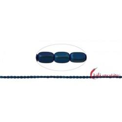 Strang Quader gerundet Hämatin blau (gefärbt) matt 5 x 3 mm