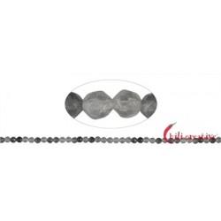 Strang Kugeln Inklusen-Quarz (silbergrau) facettiert 4 mm (38cm)