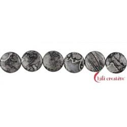 Strang Button flach Jaspis (Silberstreifen) 12 mm