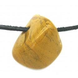 Trommelstein gebohrt Jaspis gelb