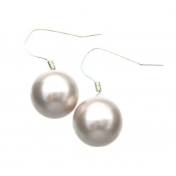 Ohrhänger Muschelkern rosé (gefärbt) Perle 10 mm 925er Silber