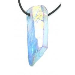 Aqua Aura hell (Bergkristall bedampft) Kristall gebohrt 4-6 cm