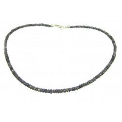 Button-Kette Sugilith im Verlauf  4-6/43-45 925er Silber