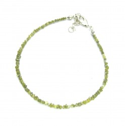 Rohstein-Armband Diamant (grün) 2-3 mm 925er Silber