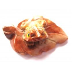 Frosch auf Blatt Speckstein 3,8 cm