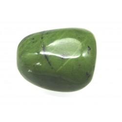 Trommelstein Serpentin dunkelgrün mit Magnetit 1 Stück