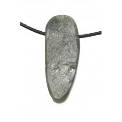 Labradorit grau-grün Rohstein anpoliert gebohrt 3,5-4,5 cm