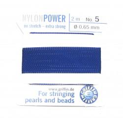 Perlfädelseide Synthetik blau dunkel Nr. 5 0,65 mm/2m + Vorfädelnadel