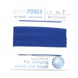 Perlfädelseide Synthetik blau dunkel Nr. 7 0,75 mm/2m + Vorfädelnadel