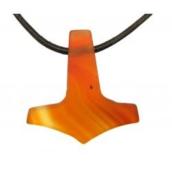Thorshammer gebohrt Carneol (erhitzt) mattiert 25 mm