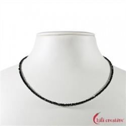 Strang Button Diamant schwarz facettiert 2,5 mm (41cm)