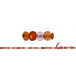 Strang Button Carneol (erhitzt) facettiert 3 x 4 mm