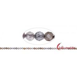 Strang Kugeln Mondstein (grau/bunt) facettiert 3-4 mm