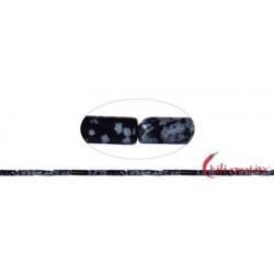 Strang Zylinder Obsidian Schneeflocke 13 x 4 mm