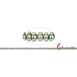 Strang Button Süßwasser-Perle grün (gef.) 2 x 3-4 mm