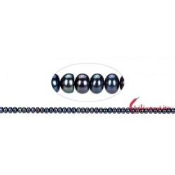 Strang Button Süßwasser-Perle A petrol (gef.) 4 x 6-7 mm