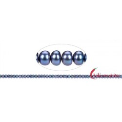 Strang Keshi Süßwasser-Perle blau-grau (gef.) 5-6 mm