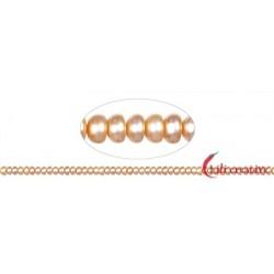 Strang Button Süßwasser-Perle lachs (natur) 3-4 x 5-6 mm