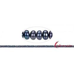 Strang Button Süßwasser-Perle petrol (gef.) 3 x 5-6 mm