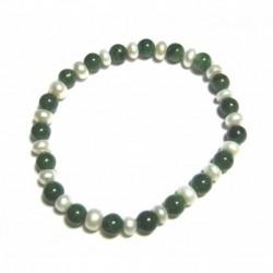 Kugel-Armband Budstone (Grünschiefer) mit Süßwasserzucht-Perle 6 mm