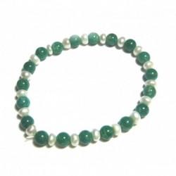 Kugel-Armband Amazonit mit Süßwasserzucht-Perle 6 mm
