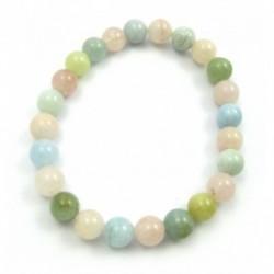 Kugel-Armband Beryll rosa-grün-blau Mix 8 mm