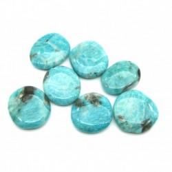 Scheibenstein Amazonit dunkler teils mit schwarz 3-7 cm VE 500 g