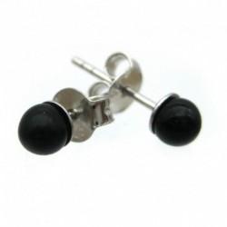 Ohrstecker Kugel Turmalin schwarz 4 mm 925er Silber
