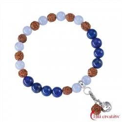 Armband Mala Chalcedon blau, Lapis Lazuli (Kommunikation) 8 mm 925er Silber