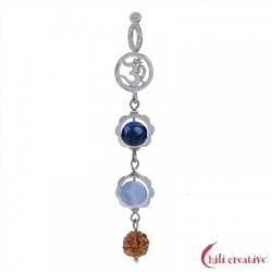 Anhänger Mala Chalcedon, Lapis Lazuli (Kommunikation)  925er Silber