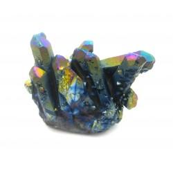 Rohstein Gruppe dunkelblau-bunt (Bergkristall bedampft) 3-4 cm