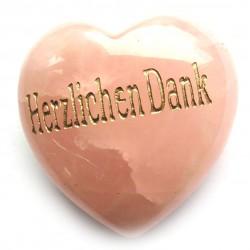 """Herz Rosenquarz """"Herzlichen Dank"""" 45 mm bauchig"""
