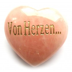 """Herz Rosenquarz """"Von Herzen…"""" 45 mm bauchig"""