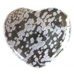 Herz Obsidian Schneeflocke 55 mm bauchig