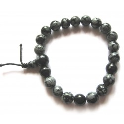 Kraft-Armband Obsidian Schneeflocke