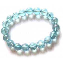 Kugel-Armband Aqua Aura (Bergkristall bedampft)10 mm