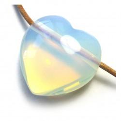 Herz gebohrt Opalglas (Kunstglas) 25 mm