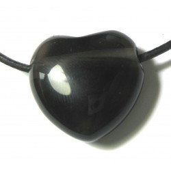 Herz gebohrt Obsidian Lamellen 25 mm
