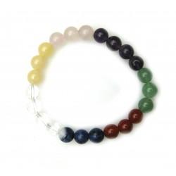 Kugel-Armband Chakra (teils erhitzt und gefärbt) 8 mm