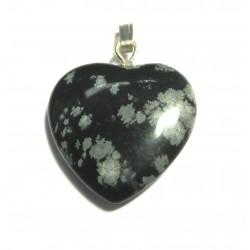 Herz 20 mm Obsidian Schneeflocke