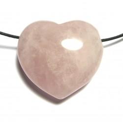 Herz gebohrt Rosenquarz bauchig 45 mm