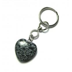 Schlüsselanhänger Herz Obsidian Schneeflocke