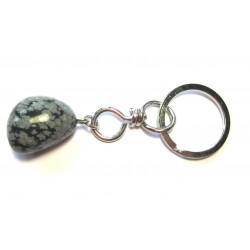 Schlüsselanhänger Trommelstein Obsidian Schneeflocke