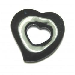 Schnurteil Herz in Herz Onyx (gefärbt) 50 mm