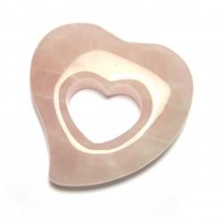 Schnurteil Herz in Herz Rosenquarz 50 mm
