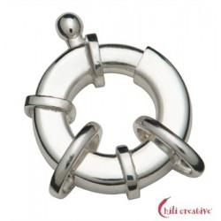 Federring Design flach 18 mm mit 2 Ösen Silber 1 Stück