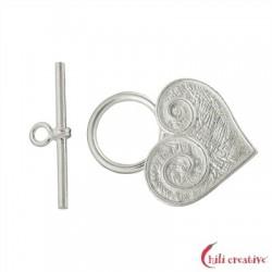 Knebel-Verschluß Herz 25 mm Silver matt 1 Stück