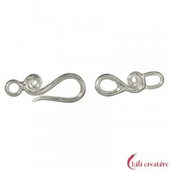 Haken Spiraldekor mit Öse 25 mm Silber 1 Stück